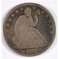 1874 SEATED HALF DOLLAR, GOOD