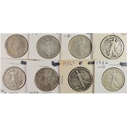 (8) WALKING LIBERTY HALF DOLLARS, DATED 1917-1936