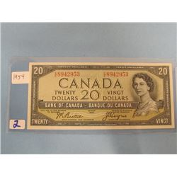 1954 Bank of Canada $20.00 Bill