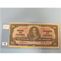 1937 Bank of Canada $10.00 Bill