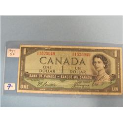 1954 Devils Face Bank of Canada $1.00 Bill
