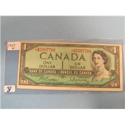 1954 Asterisk Bank of Canada Replacement $1.00 Bill