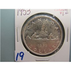 Canadian Silver Dollar 1953