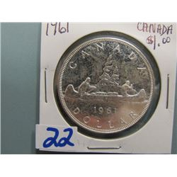 Canadian Silver Dollar 1961