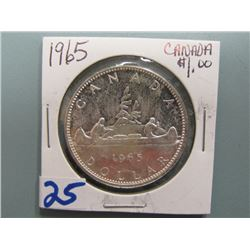 Canadian Silver Dollar 1965