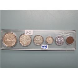 1953 Canadian Silver Dollar, 50 Cent, Quarter, Dime, Nickel & Penny