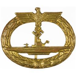 ERICH TOPP'S ENGRAVED U-BOAT BADGE