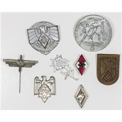 HITLER YOUTH/DEUTSCHE JUNGVOLK PINS AND TINNIES