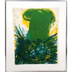 Walasse Ting, Green Nude with Skirt, Lithograph