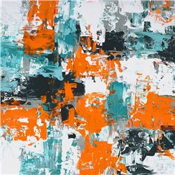 Nakisa Seika, Sovereign (Orange and Teal), Painting