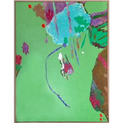 Dan Teis, Green Abstract, Painting with Collage