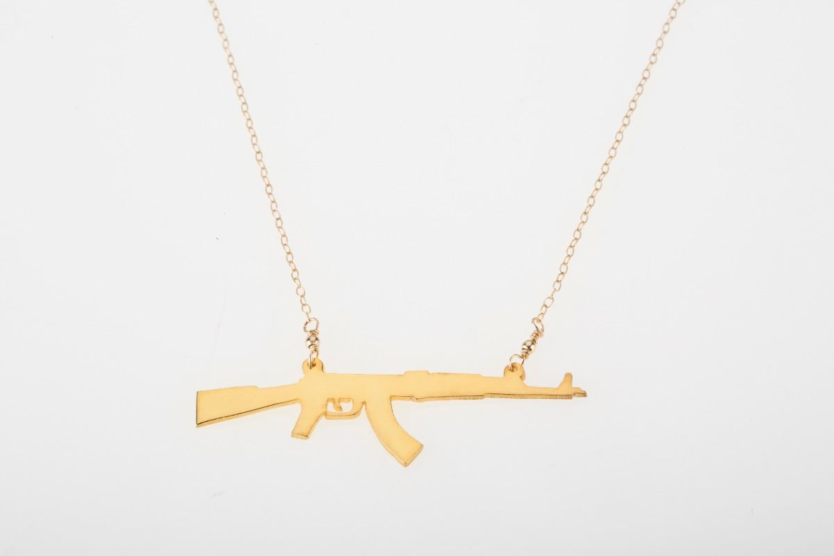 ak 47 silhouette necklace gold