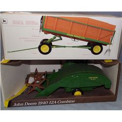 2 toys: JD 1940-12A combine, 1:16, ERTL, NIB; and JD barge wagon, 1:16, Precision Classics, NIB