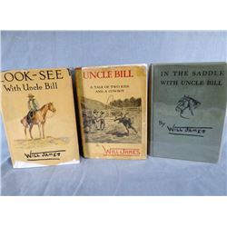 James, Will, 3 books, Uncle Bill, In the Saddle and Look-See, all 1st editions, 2 with dj