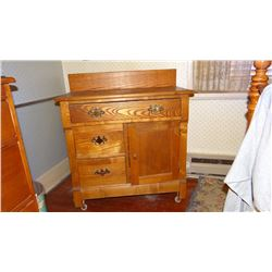 "Oak commode, 34"" hi x 30"" wide x 16"" deep"