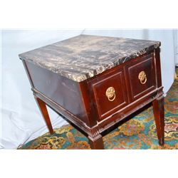 Marble top end table, black w/1 drawer