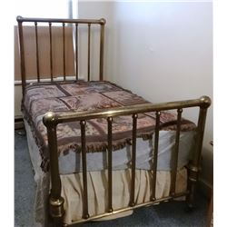 Brass finished iron bed, twin
