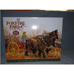 JD Foxfire Farm sulkey rake and horse team, ERTL, porcelain, NIB