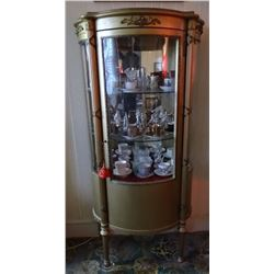 "Curved glass china gilded cabinet, 55"" h x 27"" w x 14"" d"
