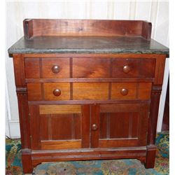 "Walnut commode w/brown marble top, 32"" h x 30""w x 12"" d"