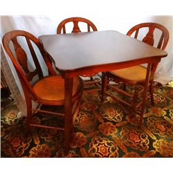 Walnut dinette set w/3 caned-seat chairs