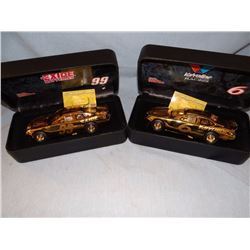 2 Nascar 50th Anniversary cars, silver and gold pltd