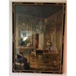 "Vintage ""Music Room"" print, framed"