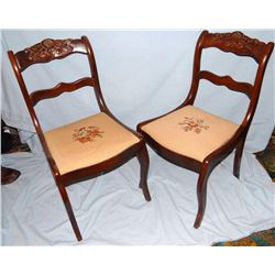2 Mahogany dining chairs, needle point seats