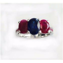 PINK SAPPHIRE 0.13CT / RUBY 2.11CT / BLUE SAPPHIRE 1.51CT, 14K W/G RING 5.10GRAM / DIAMOND RD 0.03CT