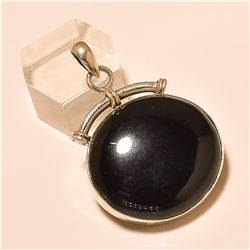 Black Spinel Pendant Solid Sterling Silver