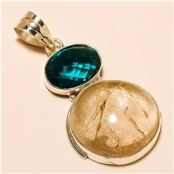 Golden Rutile /London Blue Topaz Pendant Solid Sterling Silver