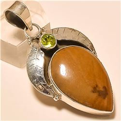 Brown Jasper/Peridot Quartz Pendant Solid Sterling Silver