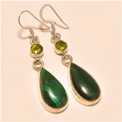 Malachite/peridot Earring Solid Sterling Silver