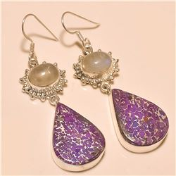 Purple Copper Turquoise/Moonstone Earring Solid Sterling Silver