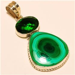 Malachite/Chrome Quartz Pendant Solid Sterling Silver