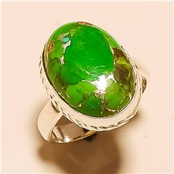 Green Copper Turquoise RING Solid Sterling Silver