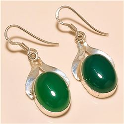 Green Onyx Earring Solid Sterling Silver