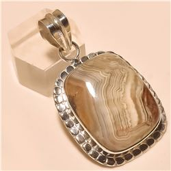 Crazy Lace Agate Pendant Solid Sterling Silver
