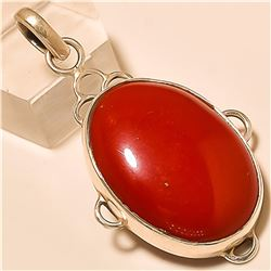 Red Coral Pendant Solid Sterling Silver