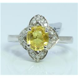 14K WHITE GOLD RING 4 GRAM  DIAMOND 0.18CT YELLOW SAPPHIRE 1.76CT