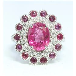 14K WHITE GOLD RING 8.1GRAM DIAMOND 0.59CT RUBY 1.14CT ROUND PINK TOURMALINE 3.10CT