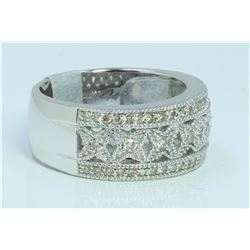 14K WHITE GOLD RING 7.78 GRAM  DIAMOND RD 0.44CT
