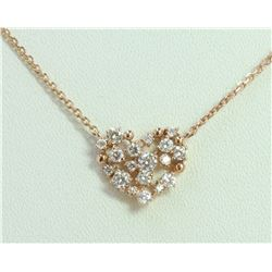 14K ROSE GOLD PENDANT WITH CHAIN 2.76g/Diamond 0.52ct