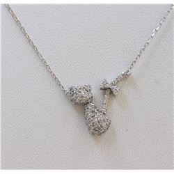 14K WHITE GOLD CAT PENDANT WITH CHAIN :3.1g/Diamond:0.5ct