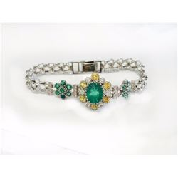 Y.SAPPHIRE 1.52CT / EMERALD 3.09CT CENTER / EMERALD 1.75CT, 14K W/G BRACELET  18.39GRAM / DIAMOND RD