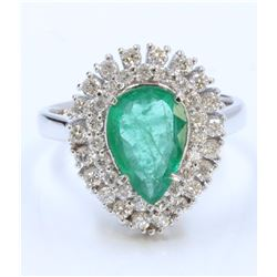 14K WHITE GOLD RING 5.51GRAM DIAMOND 0.64CT EMERALD 1.60CT PEAR SHAPE