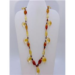 262.52 ct Citrine Quartz Necklace faceted & cabochon
