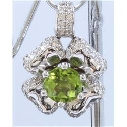 14K WHITE GOLD PERIDOT PENDANT: 9.1g / Diamond: 1.18ct / Peridot : 3.01ct