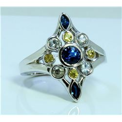 14K WHITE GOLD RING 6.70GRAM / SAPPHIRES 1.3CT