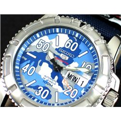 Seiko Blue Camouflage Watch